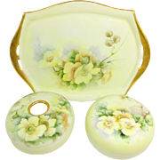 German Bavaria Hand Painted Vanity Dresser Set Yellow Tea Roses