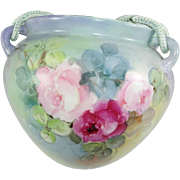 Extra Large Hand Painted Hanging Jardiniere Vase Cache Pot Roses