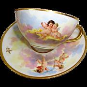 Antique Dresden Cup Saucer Hand Painted Cherubs Angels Putti