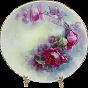 Haviland Limoges Plate Hand Painted Scarlet Roses Signed Stoner