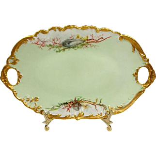Antique French Limoges Tray with Hand Painted Sea Life