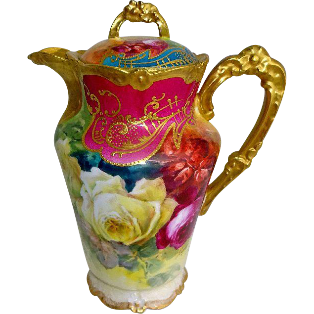 French Limoges Chocolate Pot Hand Painted Tea Roses Signed Rancon