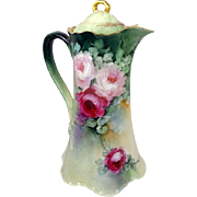 Haviland Limoges French Chocolate Pot with Hand Painted Roses