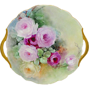 Antique French Limoges Double Handle Hand Painted Plate Roses