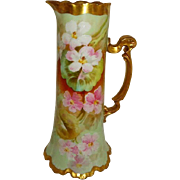French Antique Limoges Tankard Pitcher Hand Painted Pink Blossoms Artist Signed