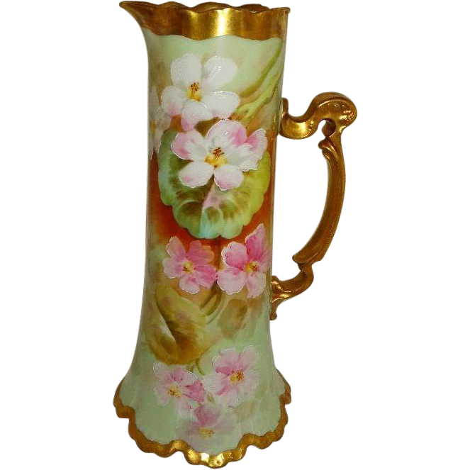 Antique French Limoges Tankard Pitcher Hand Painted Artist Signed