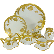 Limoges Tea Set Hand Painted Signed by Stouffer Artist, Buschbeck