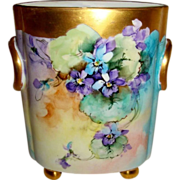 Vintage German Bavaria Cache Pot Vase Jardiniere Hand Painted Purple Violets Artist Signed Ida Sommers