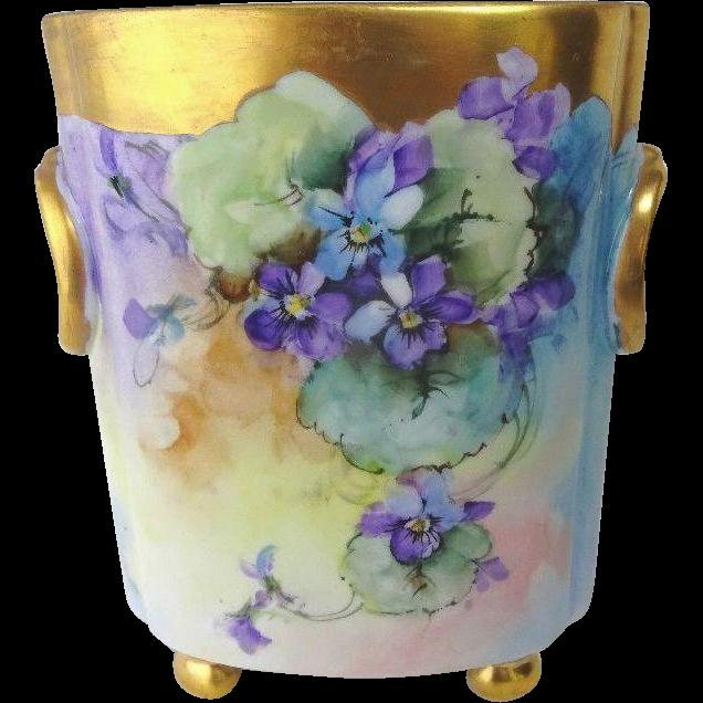 Bavaria Cache Pot Vase Hand Painted Violets Famous Artist Signed ...