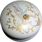 Antique French Limoges Powder Jar Hand Painted Cherubs Signed Dated 1893