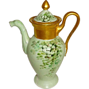 French GDA Limoges Tea Pot Hand Painted Green Shamrocks