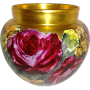 Hand Painted Famous Artist Signed Vase Jardiniere Ruby Red Roses