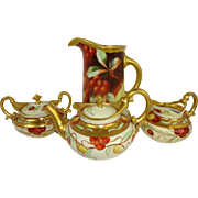 Antique Pickard Tea Set and Pitcher with Hand Painted Ruby Red Cherries - Artist Signed