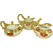 Antique Limoges Pickard Tea Set Hand Painted Cherries Signed