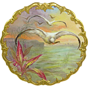 Limoges Hand Painted Scenic Plaque Charger Plate Signed Mulville