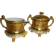 Royal Kinran Crown Nippon Japan Sugar Creamer Gold Beading Pink Flowers