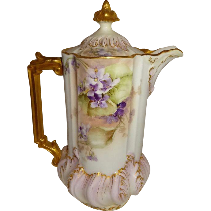 Antique Austria Chocolate Pot Hand Painted Purple Violets