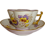Antique Limoges French Tea Cup Saucer Hand Painted Pansies Artist Signed Dated 1886