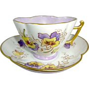Limoges Cup Saucer Hand Painted Pansies Artist Signed Dated 1886