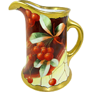 Antique Limoges Pickard Pitcher Hand Painted Cherries Signed Bietler