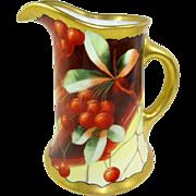 Antique Limoges Pickard Pitcher Hand Painted Cherries Signed Bietler