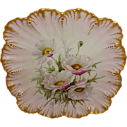 French Antique Limoges Plate Hand Painted Pink Poppies Artist Signed Dated 1892