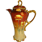 Vintage French Limoges Chocolate Pot Hand Painted Tangerine Orange Chinese Poppies