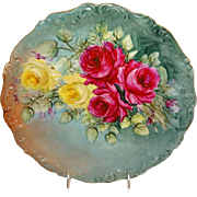 Antique French Limoges Charger with a Stunning Hand Painted Rose Bouquet
