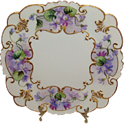 Vintage GDA Limoges Square Plate Tray Hand Painted Purple Violets Pansies