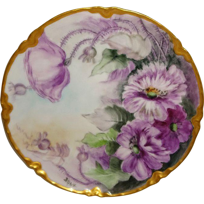 Hand Painted Vintage Haviland Limoges France Plate Purple Poppies Artist Signed