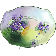 Large French Limoges Porcelain Tray Hand Painted Purple Violets