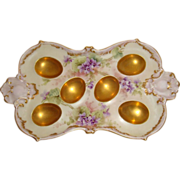 French Antique Limoges France Egg Tray Hand Painted Violets Artist Signed Dated 1899