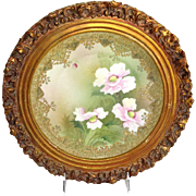 Framed Nippon Japan Jeweled Plaque Hand Painted Pink Poppies - Red Tag Sale Item