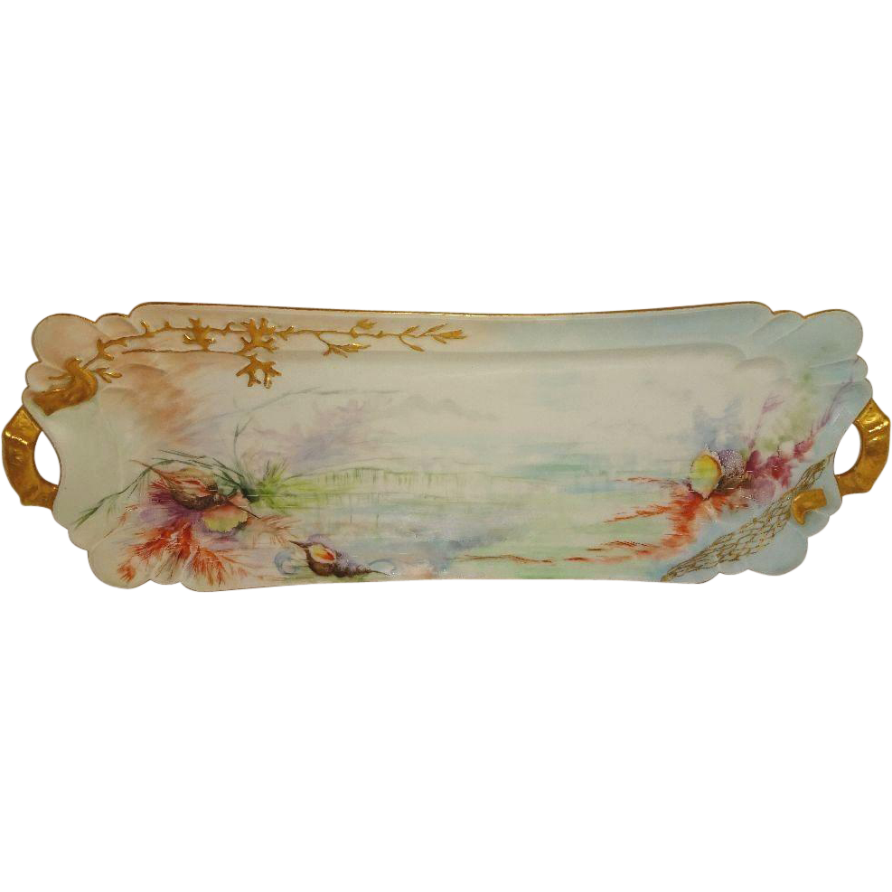French Antique Haviland Limoges Fish Tray Platter Hand Painted Sea Life Artist Signed Dated 1899