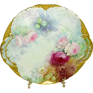 Antique French Limoges Plate Hand Painted Roses Signed Dated '02