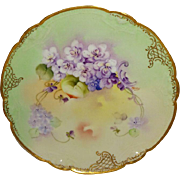 Antique French Limoges China Plate with Purple Violets Hand Painted and Pickard Artist Signed  John Nessy