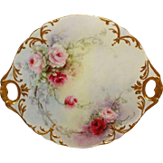 Antique French Limoges Hand Painted Cake Plate Pink Roses