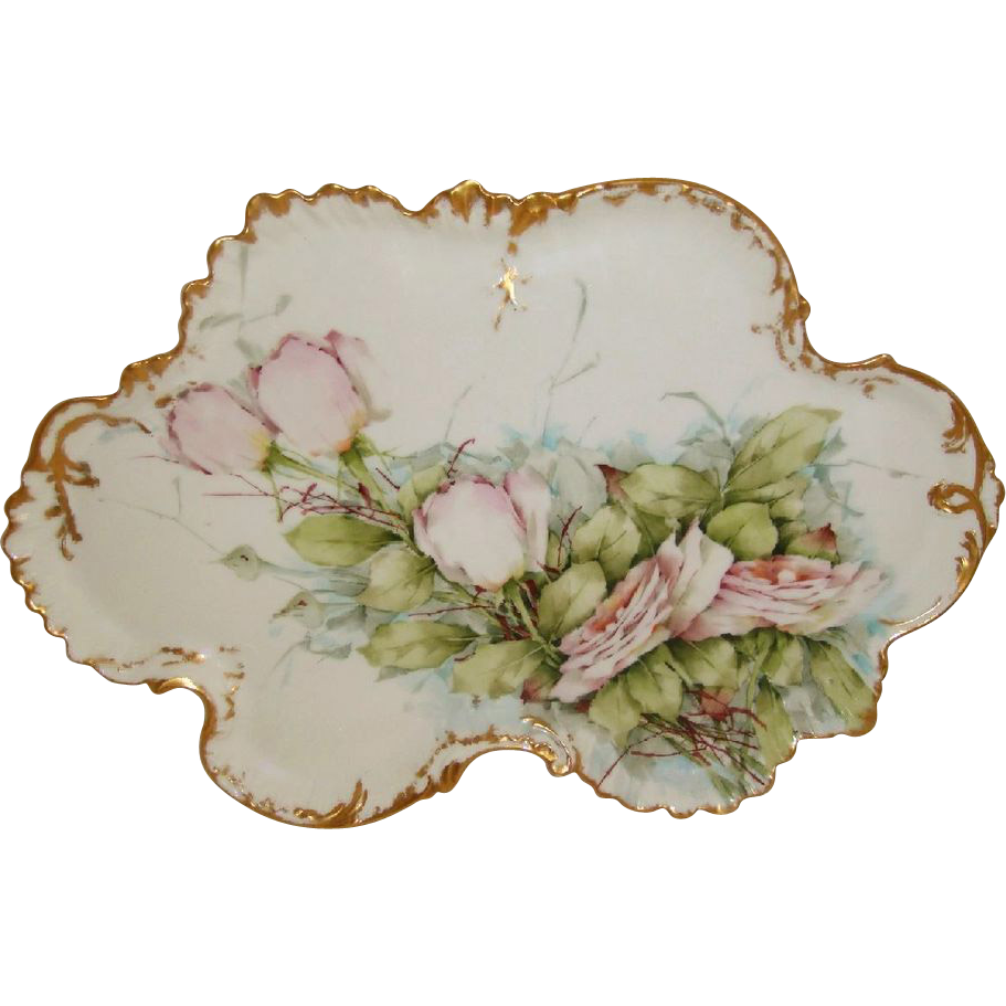 "18"" French Limoges France Tray Hand Painted Pink Roses Artist Signed"