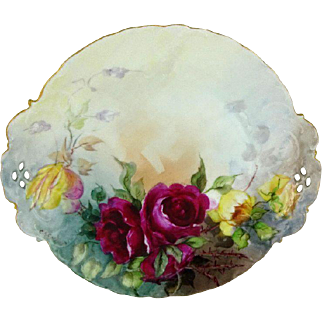 Antique German Rosenthal Plate Hand Painted Roses Signed
