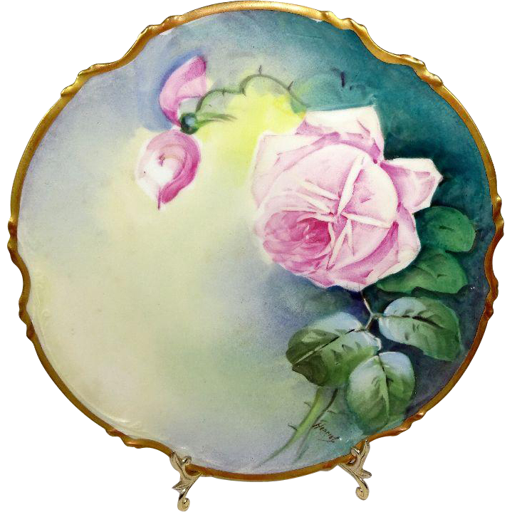 Antique French Limoges Plaque Hand Painted Pink Roses Artist Signed