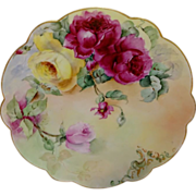 French Antique Limoges Charger Plate Hand Painted Roses Signed