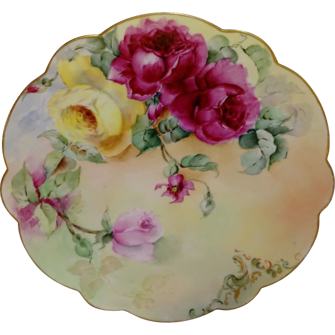 Antique French Limoges Charger Plate Hand Painted Roses Signed
