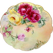 "French Limoges 12"" Charger Plate with Hand Painted Tea Roses"