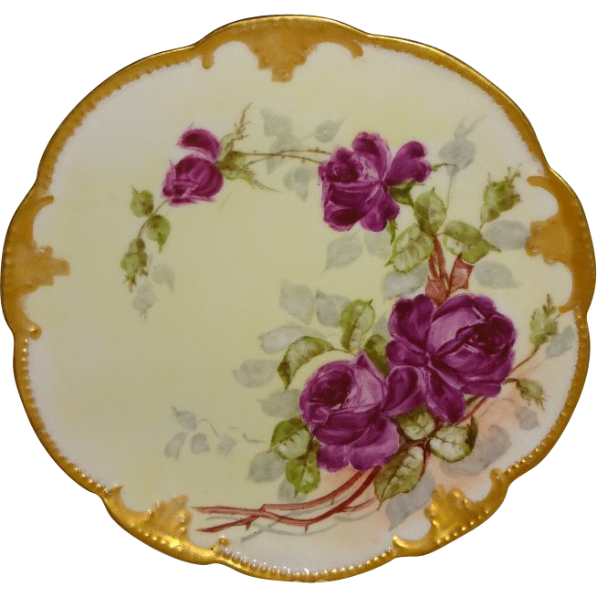 French Antique Limoges Plate Hand Painted Roses Artist Signed