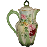 French Chocolate Pot with Hand Painted Pink Roses