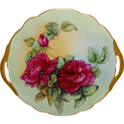 Antique French Limoges Cake Plate with Hand Painted Red Roses
