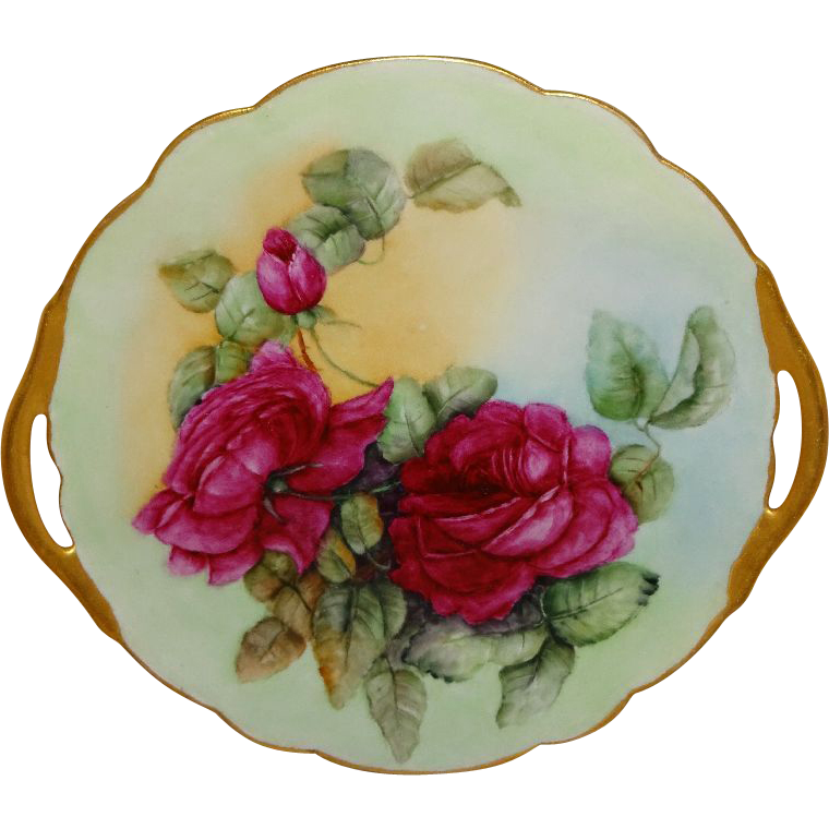 Antique French Limoges Cake Plate Hand Painted Ruby Red Roses
