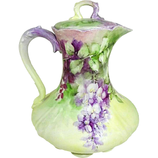 GDA Limoges France Chocolate Pot Hand Painted Purple Lilacs