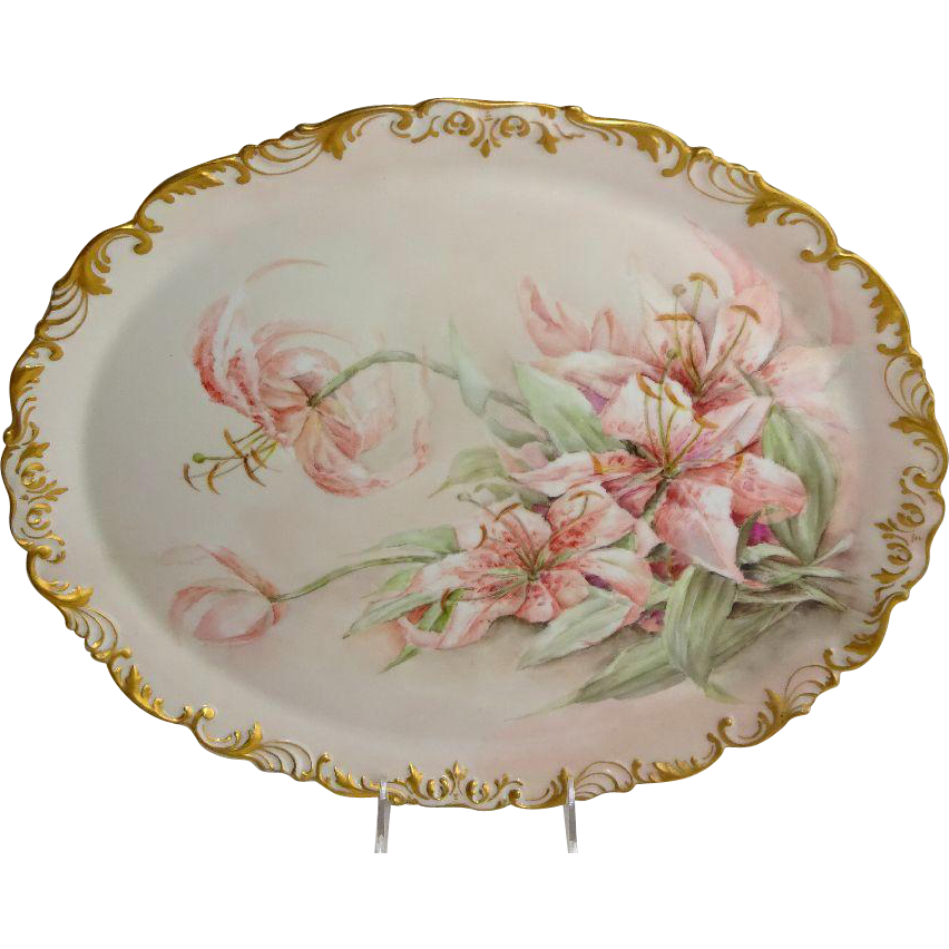 Antique French Limoges Porcelain Tray with Hand Painted Lilies