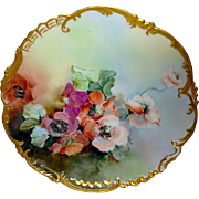 French Antique Limoges Plate Hand Painted and Artist Signed Poppies